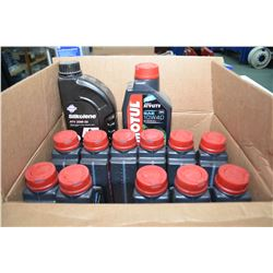 Twelve 1 ltr. jugs of Motul 4T motor oil ATV-UTV 10W-40 plus 1 ltrs. of Silkolene ATV 20W-50 motor o