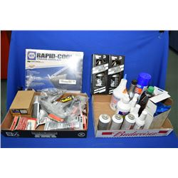 Selection of shop supplies including silicone, rad seal, air connectors, engine treatment, transmiss
