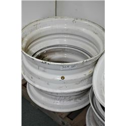 "Two mismatched Dayton style white painted wheels including 22.5"" X 8.25"" #A23944 and a 24.5"" X 8.25"""