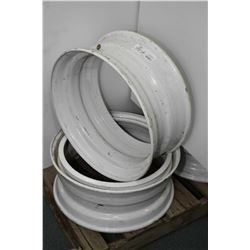 "Pair Dayton style white painted wheels 22.5"" X 8.25"" #A23944- AUCTION HOUSE WILL NOT PROVIDE SHIPPIN"