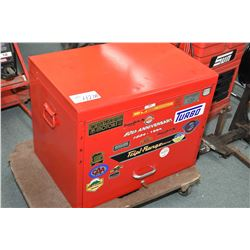Mechanic top box with contents of tools including plyers, sockets, punches, drivers, scrappers etc.-