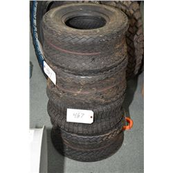 Four brand new golf cart tires including three Fairway Pro and one Carlisle Turf-Saver II, all sized
