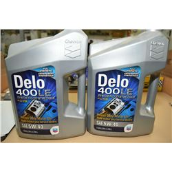 Two 3.78 ltr. jugs of Chevron Delo 400LE synthetic 5W-40 motor oil- AUCTION HOUSE WILL NOT PROVIDE S