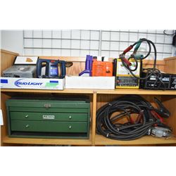 Two shelf lots of tools and equipment including heavy duty booster cables, 6 amp battery charger, ba