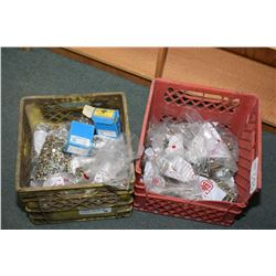 Two containers of hardware, one is National coarse and one is National fine bolts, nuts and washers-