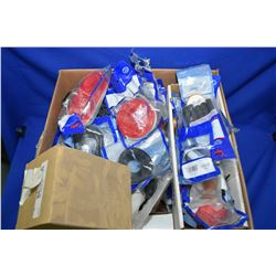Box of truck and trailer marker lamps, seals, mirrors etc.- ITEM CAN BE SHIPPED THROUGH CANADA POST