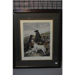 "Lot of Two Large Framed Prints "" The Scotch Gamekeeper - "" The English Gamekeeper "", outside measure"