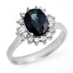2.29 CTW Blue Sapphire & Diamond Ring 18K White Gold - REF-65N3Y - 13238