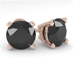 3.0 CTW Black Diamond Stud Designer Earrings 18K Rose Gold - REF-96H5W - 32318
