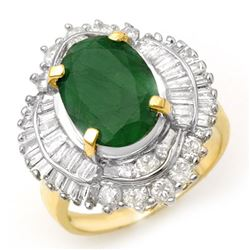 6.0 CTW Emerald & Diamond Ring 14K Yellow Gold - REF-152H8W - 13067