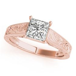 1 CTW Certified VS/SI Princess Diamond Solitaire Ring 18K Rose Gold - REF-346F4M - 28126