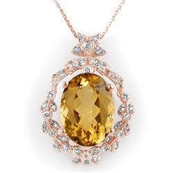 12.8 CTW Citrine & Diamond Necklace 14K Rose Gold - REF-106K8R - 10338