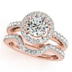 0.96 CTW Certified VS/SI Diamond 2Pc Wedding Set Solitaire Halo 14K Rose Gold - REF-138N8Y - 30775