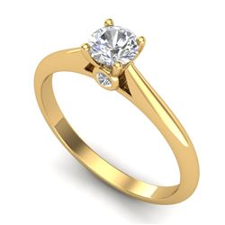 0.40 CTW VS/SI Diamond Solitaire Art Deco Ring 18K Yellow Gold - REF-58T2X - 37279