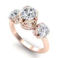 3 CTW VS/SI Diamond Solitaire Art Deco 3 Stone Ring Band 18K Rose Gold - REF-604T5X - 36867