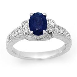 1.75 CTW Blue Sapphire & Diamond Ring 14K White Gold - REF-59X3T - 13493