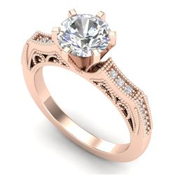 1.51 CTW VS/SI Diamond Solitaire Art Deco Ring 18K Rose Gold - REF-536R4K - 37077