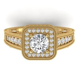 2 CTW Certified VS/SI Diamond Art Deco Halo Ring 14K Yellow Gold - REF-258H2W - 30497
