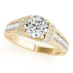 1.5 CTW Certified VS/SI Diamond Solitaire Antique Ring 18K Yellow Gold - REF-398K8R - 27404