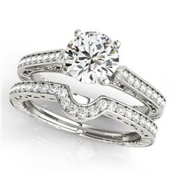 0.57 CTW Certified VS/SI Diamond Solitaire 2Pc Wedding Set Antique 14K White Gold - REF-86X5T - 3151