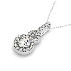 1.5 CTW Certified VS/SI Diamond Solitaire Halo Necklace 14K White Gold - REF-297Y9N - 30185