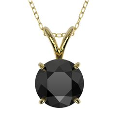 1.25 CTW Fancy Black VS Diamond Solitaire Necklace 10K Yellow Gold - REF-35T8X - 33206