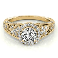 1.25 CTW Certified VS/SI Diamond Solitaire Halo Ring 18K Yellow Gold - REF-238W2H - 26574