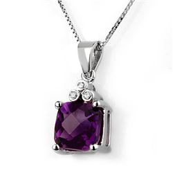 3.06 CTW Amethyst & Diamond Necklace 18K White Gold - REF-42W8H - 10376