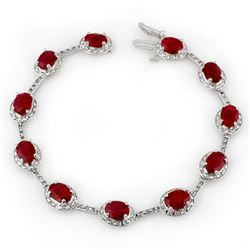 12.40 CTW Ruby & Diamond Bracelet 10K White Gold - REF-96X4T - 10852