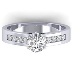 1.1 CTW Certified VS/SI Diamond Solitaire Art Deco Ring 14K White Gold - REF-188H2W - 30345