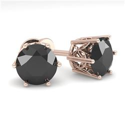 3.0 CTW Black Certified Diamond Stud Solitaire Earrings 18K Rose Gold - REF-84T8X - 35852
