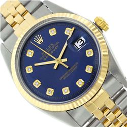 Rolex Men's Two Tone 14K Gold/SS, QuickSet, Diamond Dial with Fluted Bezel - REF-360X2A