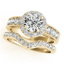 1.96 CTW Certified VS/SI Diamond 2Pc Wedding Set Solitaire Halo 14K Yellow Gold - REF-258R4K - 31312