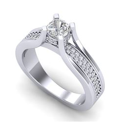1.01 CTW Cushion VS/SI Diamond Solitaire Micro Pave Ring 18K White Gold - REF-200K2R - 37160