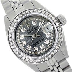 Rolex Men's Stainless Steel, QuickSet, Diamond Dial & Diamond Bezel - REF-474A5N