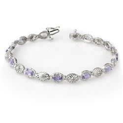 2.62 CTW Tanzanite & Diamond Bracelet 10K White Gold - REF-47W3H - 14242