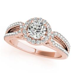 0.90 CTW Certified VS/SI Diamond Solitaire Halo Ring 18K Rose Gold - REF-134W5H - 26423