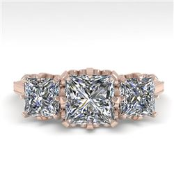 2 CTW Past Present Future Certified VS/SI Princess Diamond Ring 18K Rose Gold - REF-414N2Y - 35783