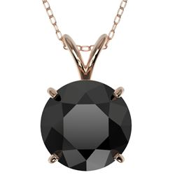 2.50 CTW Fancy Black VS Diamond Solitaire Necklace 10K Rose Gold - REF-61H5W - 33244