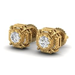 1.11 CTW VS/SI Diamond Solitaire Art Deco Stud Earrings 18K Yellow Gold - REF-218M2F - 36877
