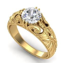 1 CTW VS/SI Diamond Solitaire Art Deco Ring 18K Yellow Gold - REF-315T2X - 36910