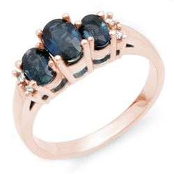 1.34 CTW Blue Sapphire & Diamond Ring 14K Rose Gold - REF-36R2K - 10536