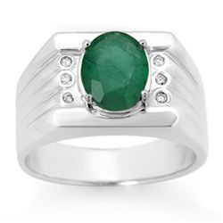 2.06 CTW Emerald & Diamond Mens Ring 10K White Gold - REF-73H8W - 14469