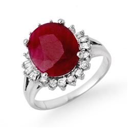 4.04 CTW Ruby & Diamond Ring 18K White Gold - REF-103R6K - 13301