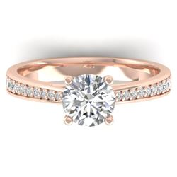 1.26 CTW Certified VS/SI Diamond Solitaire Art Deco Ring 14K Rose Gold - REF-352R4K - 30385