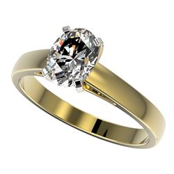 1.25 CTW Certified VS/SI Quality Oval Diamond Solitaire Ring 10K Yellow Gold - REF-372Y3N - 33012