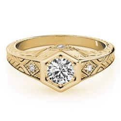 0.40 CTW Certified VS/SI Diamond Solitaire Antique Ring 18K Yellow Gold - REF-70R9K - 27224