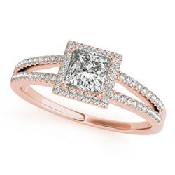0.85 CTW Certified VS/SI Princess Diamond Solitaire Halo Ring 18K Rose Gold - REF-139K8R - 27148