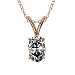 0.50 CTW Certified VS/SI Quality Oval Diamond Solitaire Necklace 10K Rose Gold - REF-74Y5N - 33164