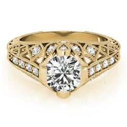 1.25 CTW Certified VS/SI Diamond Solitaire Antique Ring 18K Yellow Gold - REF-384R2K - 27314